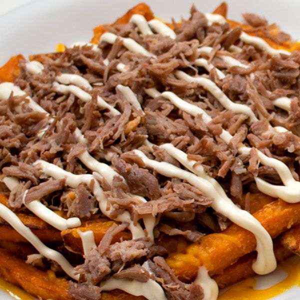 sweet potao with pulled pork
